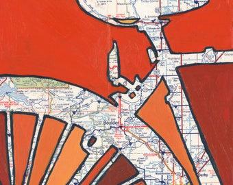 Boulder- medium print - 13x13 & 16x16 featuring Louisville, Salina, Peaceful Valley, Masonville, Colorado bicycle print bike art