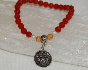 Cancer Zodiac Sign Gemstone Charm Bracelet Carnelian Bracelet Stackable Zodiac Jewelry Calming Meditation Bracelet for Her