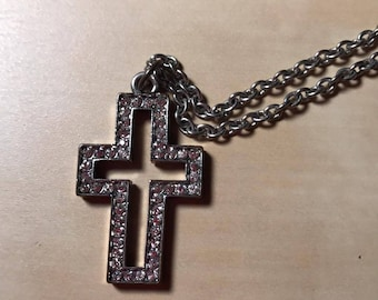 Silver Accented Bedazzled/Bejeweled Cross Necklace, Faith Jewelry
