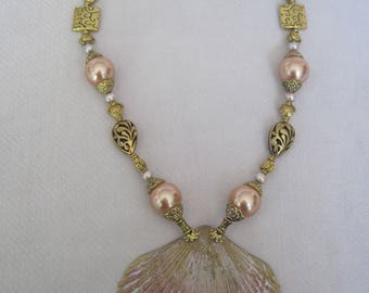 Large Unique Shell Pendant with Metal Filigree Tear Drops, Faux Pearls n Elaborate Bead Caps