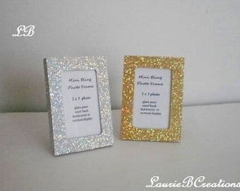 MINI GLITTER FRAME -Silver or Gold Glitter Picture Frames for the desktop or tabletop