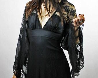 Gunne Sax Black Lace Maxi Dress