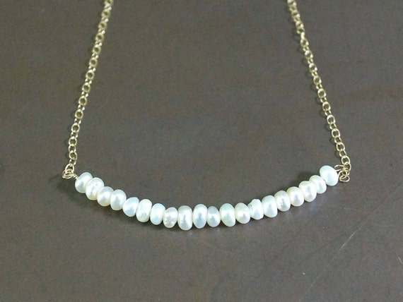 14k solid gold: Tiny seed freshwater pearl delicate necklace