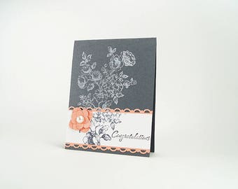 Wedding Congratulations Card - Handmade Wedding Card - Shabby Chic - Card For Bride - Grey Wedding Pallet - Peach - Floral Card - Congrats