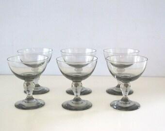 Vintage Set of Six (6) Smokey Grey Dessert Glasses