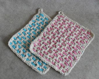 Crochet Cotton Weave Wash Cloths: beige pink & beige blue (choose 1)