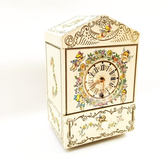 Vintage 1966 Musical Jewelry Box with Sweet Cherubic Angels by Hedaya and Co