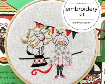 embroidery kit // Luna the Lion Tamer - hand embroidery kit