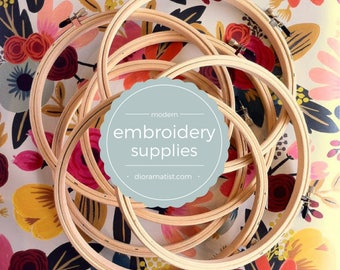 "Embroidery Hoops - 7"" set of 6 - wood hoops"