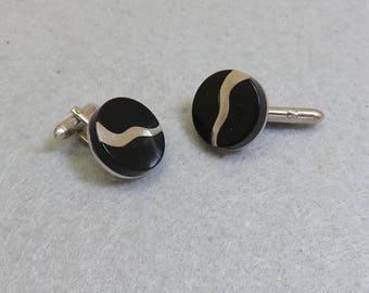 1960s Swank Black Lucite Cufflink Set, Silver and Black Cufflinks, Vintage Cufflinks