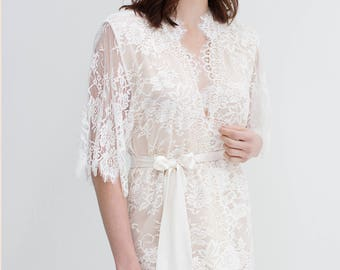 Swan Queen silk and lace robe kimono ivory champagne - style 104SH