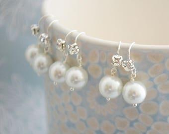 Set of White Pearl Earrings, White Rhinestone Wedding Jewellery, Silver Plate Bridesmaid Earrings, Bridal Accessories