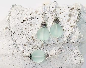 Sea Glass Jewelry Set Beach Glass Jewelry Jewelry Gift Sets Beach Lovers Gift Beach Lover Jewelry Beach Jewelry Set Necklace and Earring Set