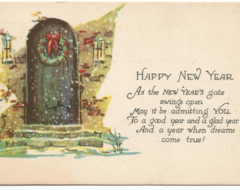 Christmas Wreath on Home Door Happy New Year Vintage Postcard Holiday Greeting Card