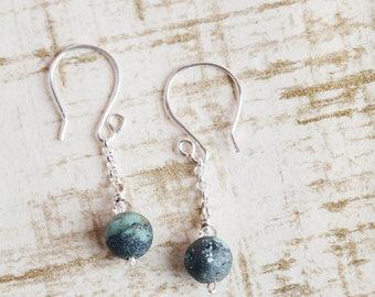 Turquoise Earrings Dangle, Turquoise, Turquoise Earrings, Turquoise Jewelry, Chain Earrings, Chain Turquoise Earrings, Turquoise Silver