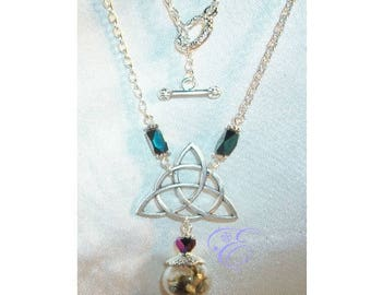 Miniature Witch Ball / Pentacle  Necklace - Black Crystal Beads