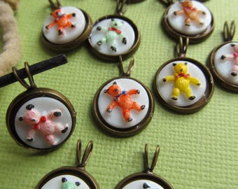 Vintage Hand Painted Teddy Bear West German Glass Cabochons