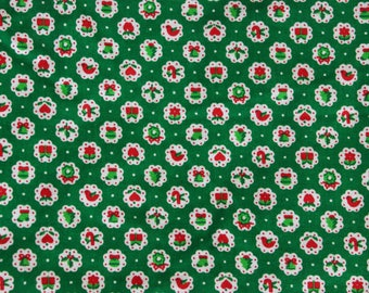 1960's Green Christmas Fabric with Traditional Holiday Designs . 60's Quilting Fabric