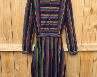 Vintage 70s Lanz Originals Striped Day Dress