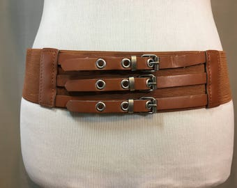 "Vintage Wide Brown Stretch Belt with Faux Leather Trim and Three Belt Buckles, Extra Large,  2.5"" Wide 33.5"" Long Stretches to 40"""