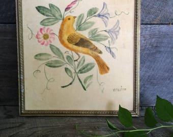 vintage original painting on velvet