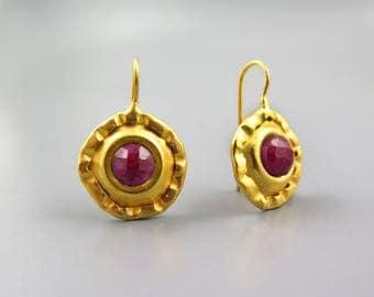 Gold Ruby Earrings, round large earrings, July Birthstone earrings, raw Ruby earring, Round Earrings, red earrings, natural ruby earrings