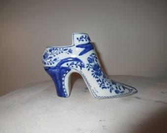 shoe boot blue white china Style Planter,Homeware, garden,window shelf,pottery