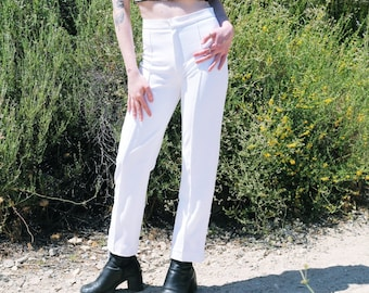 Vintage 90s White High Waisted Knit Tailored Pants sz. 4
