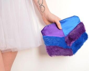Purple blue fur silk clutch bag chevron shape