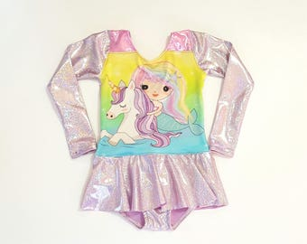 Unicorn Leotard - Mermaid Leotard - Girls Leotard - Gymnastics Leotard - Ballet Leotard - Toddler Leotard - Tumbling Leotard - Sparkle Leo