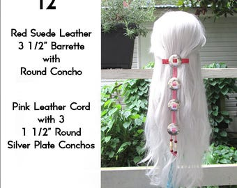 Red & Pink Leather Cascading Silver Concho Hair Barrette 12""