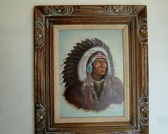 Vintage Original American Indian Chief Painting Oil on Canvas signed Brooke