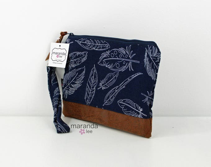 Flat Clutch Large Navy Feathers PU Leather READY to SHIp