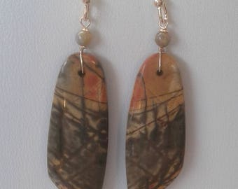 Handmade Picasso Jasper Long Drop Earrings - Rustic Painterly Gemstone Earrings - Grey Black Orange - Gold Filled