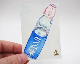 Ramune ラムネ - tiny original painting, Japanese soda, watercolor painting, mini painting, kawaii painting, Japan drink, food ACEO, ATC, OOAK