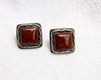 Square Jasper Earrings Vintage Sterling Silver Brown Stone Posts Southwestern Jewelry