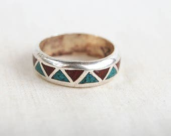 Red Coral and Turquoise Ring Band Size 12 Vintage New Old Stock Sterling Silver Chevron Triangle Unisex Red Blue Jewelry
