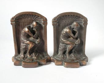 Vintage bookends, The Thinker, Rodan, Bronzed bookends, vintage library bookends