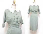 Vintage 1950s Dress | Pale Green 1950s Wiggle Dress and Bolero Jacket Set | size small