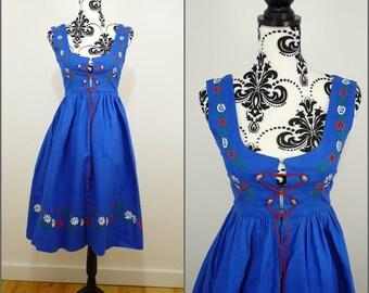 Folk VINTAGE 1970s Blue Embroidered Flower Pinafore Bohemian Dirndl Dress UK 8 F 36 / Bavarian / Tyrol / Tratchen