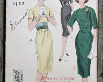 Vogue Special Design 4991 1950s 50s Tailored Wiggle Dress  Inset Waist Belted Look Vintage Sewing Pattern Size 12 Bust 32