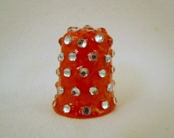HANDCRAFTED thimble with Clear Rhinestones