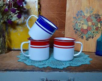 3 Vintage Set Red Blue and White Striped Enamel Metal Mugs Camping Enamelware
