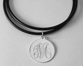 Ornate Initial Personalized Jewelry Custom Engraved Sterling Silver Round Disc Necklace - Hand Engraved