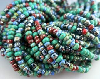 6/0 Oak Creek Canyon Bead Mix, Full Strand 175  3-4mm Beads, Boho Beads,  Czech Glass Picasso Seed and Bugle Beads, #SF42116