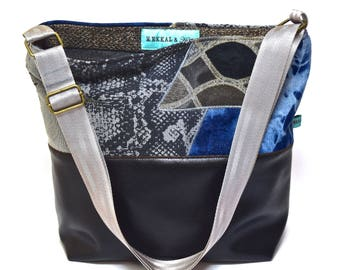 Large Vegan Shoulder Bag - Bleach-Dyed Denim and Metallics