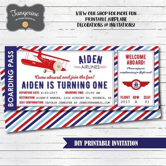 Airplane Party Invitation Airplane Invitation Vintage Airplane
