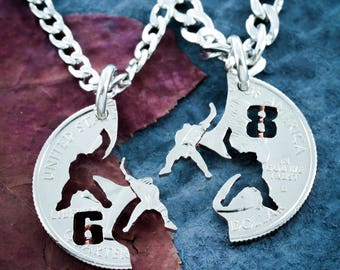Hockey Gifts, Best Friend Necklaces, Personalized Jersey Numbers, Hockey Player, Goalie Necklace, Ice Hockey Jewelry Hand Cut Coin