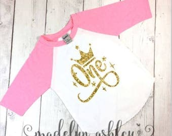 Girls Birthday Shirt-Birthday Girl Shirt-Girls Birthday Clothes-Girls First Birthday Shirt-Pink Raglan Shirt With Glitter Gold Writing