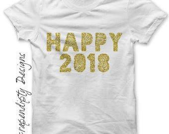 New Year Iron on Transfer - Happy 2017 Iron on Shirt / New Years Shirt Design / Toddler New Years Outfit / Womens Clothing / Mens  IT148